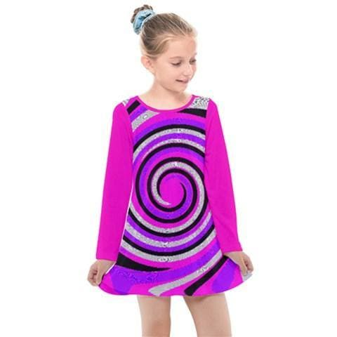 Royal Swirl Girl's Long Sleeve Dress - Tie-Fly