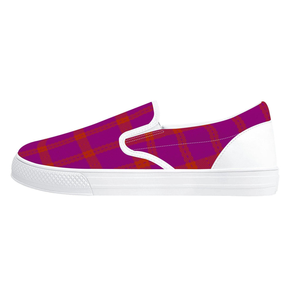 Perfusion Plaid Slip-on Shoes - White - Tie-Fly