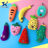 Durable Fleece Fruit Squeak Toys