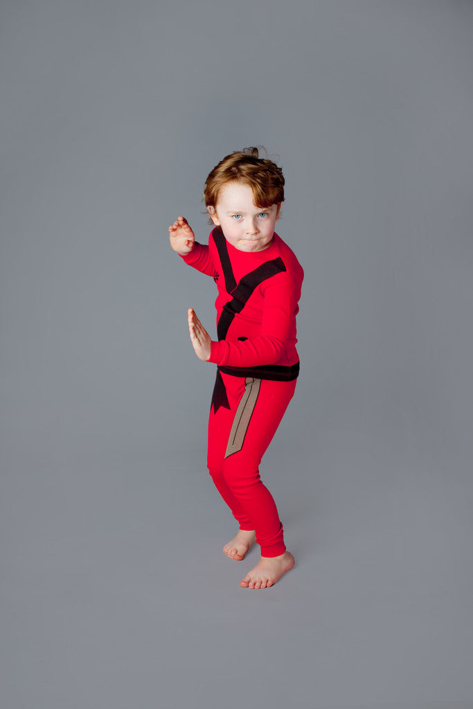 buy ninja pajamas, ninja pyjamas, organic cotton children's pajamas, fun kids pajamas, kids dress up pajamas
