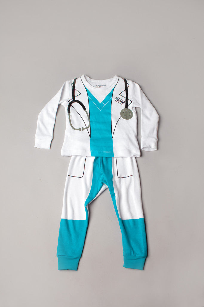 buy doctor pajamas, doctor pyjamas, organic cotton children's pajamas, fun kids pajamas, kids dress up pajamas, pyjamas