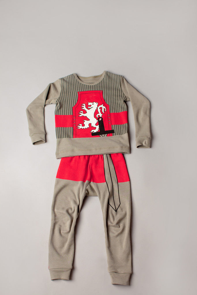 buy knight pajamas, knight pyjamas, organic cotton children's pajamas, fun kids pajamas, kids dress up pajamas, pyjamas