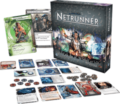 An image of the full layout found in the board game Android: Netrunner. It includes a series of cards, coins for use within the game all enclosed in a stylish box.