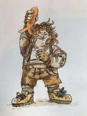 Halfling Ada, holding a fish in the air