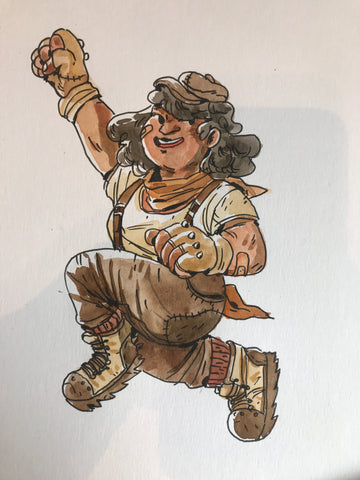 Female halfling leaping! Could she be one of the Super Halfling Sisters?