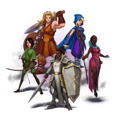 An image of the range of diverse characters found in the board game One Deck Dungeon. It includes 5 women, 3 of which are women of colour.