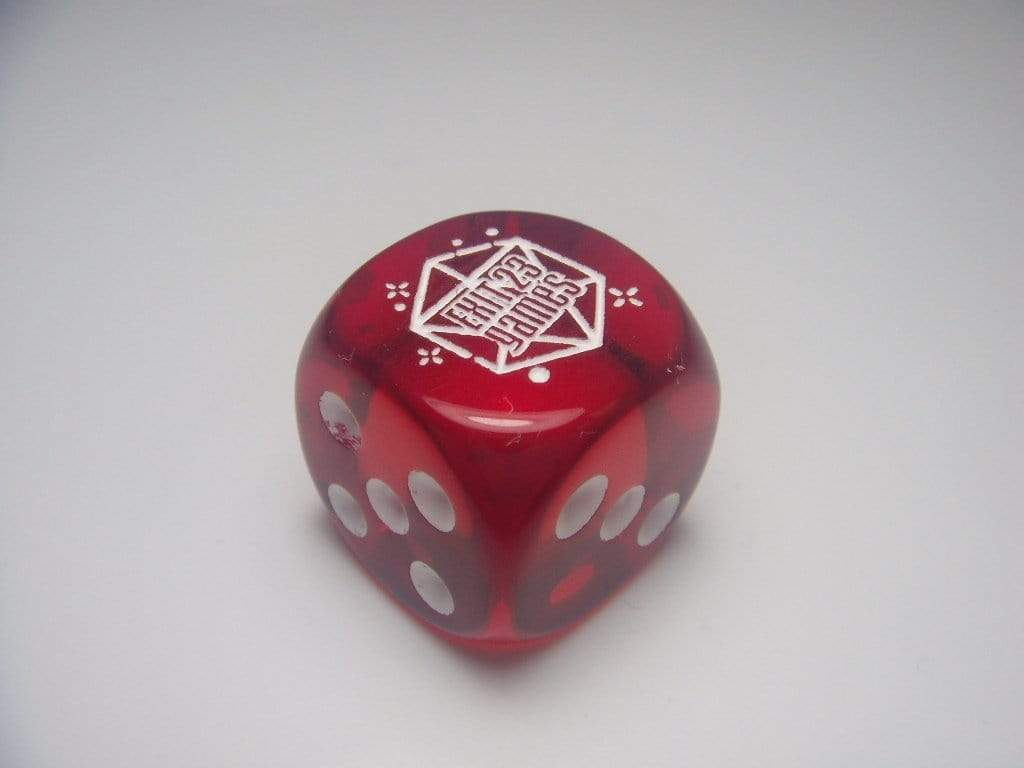 Chessex Dice 12 D6 16mm Chessex Dice translucent Red with white dots Exit 23 Games Logo