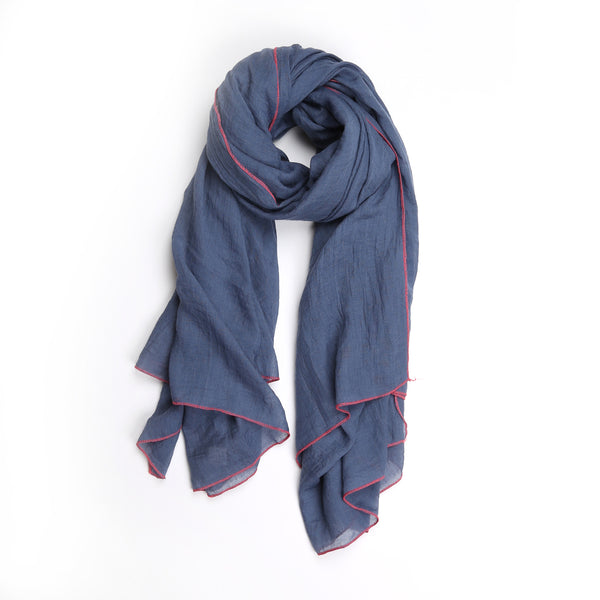 Edith Scarf, Chambray/Pink