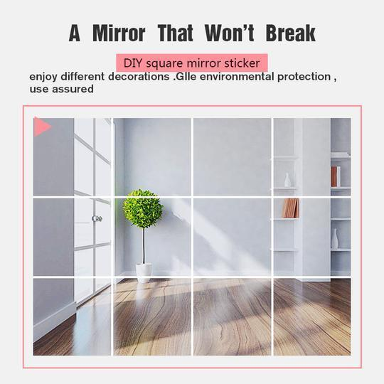 Modern 3D Self Adhesive Mirror Square Wall Stickers