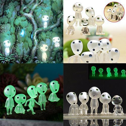 Princess Mononoke Luminous Tree Elves Spirit Kodama Gardening Potted Decor Toys