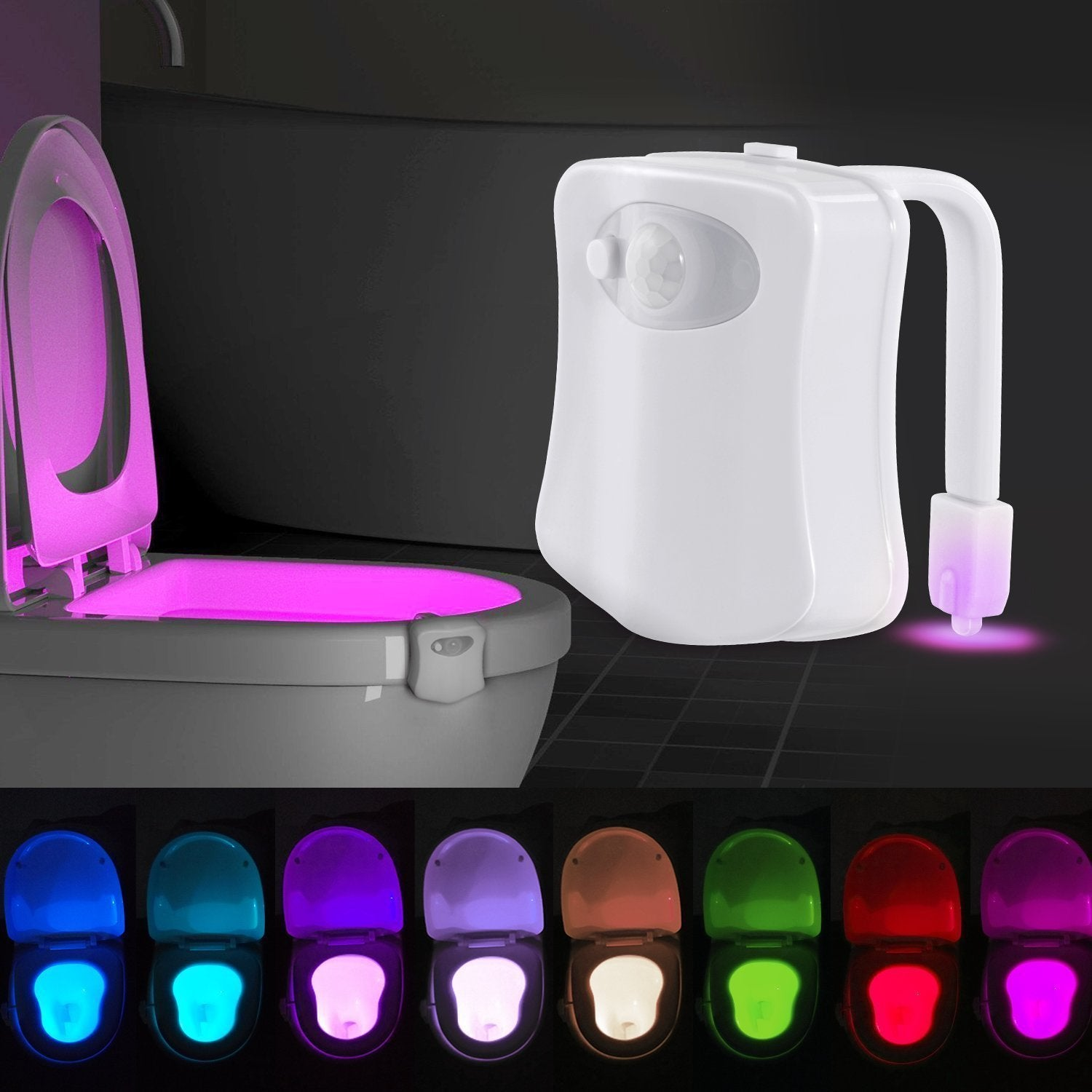 LED Toilet Bowl Seat Sensor Night Light