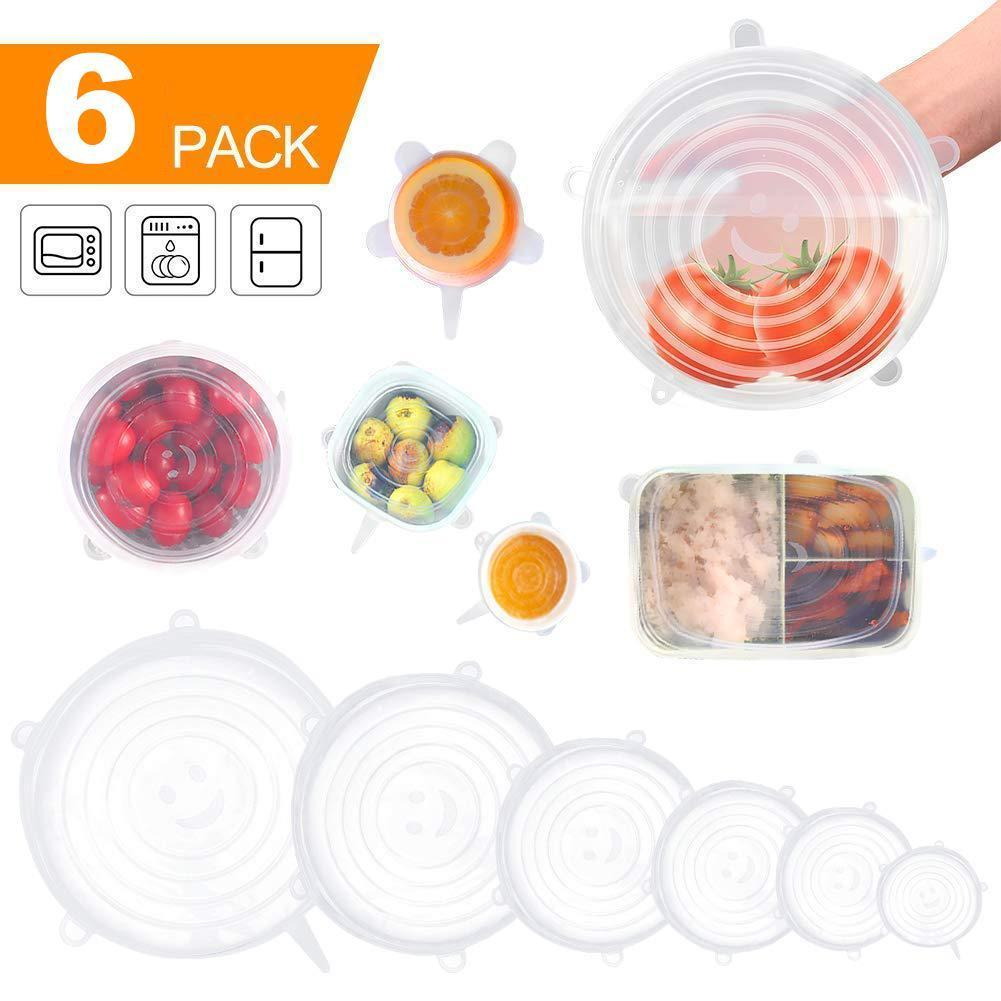 (6Pack,6 Sizes)Silicone Stretch Seal Lids