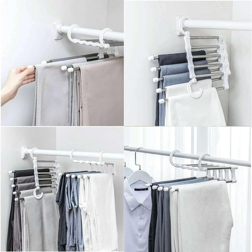 5 in 1 Telescopic magic pants rack Folding Clothes hanger Trousers rack