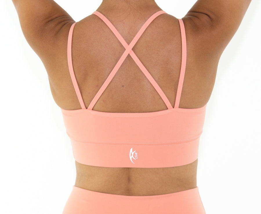 Women's Vibrant Sports bra - Coral Peach