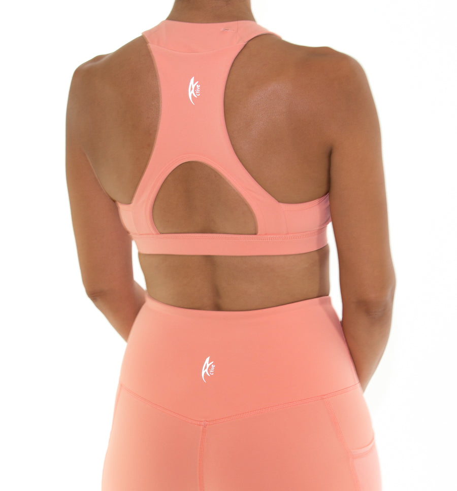 Women's Active Sports bra - Coral Peach