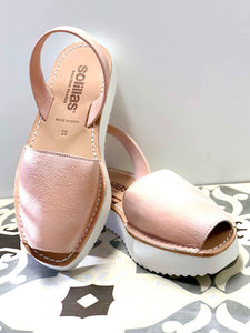 Whitened Rose Gold Flatform Solillas Sandals - Size 6
