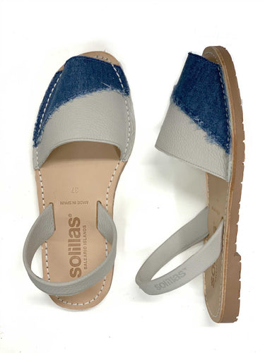 Grey leather with denim detail Solillas Sandal - UK 4 / EU 37