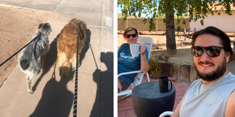 Left: Winfield and Sweetie on a walk, Right: JT and Courtney have coffee on the patio