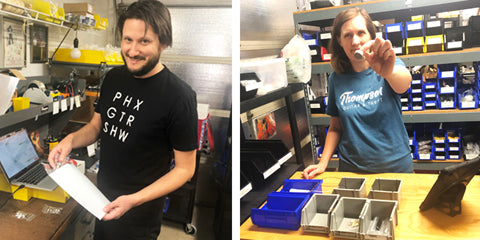 Left: JT packages an order, Right: CT preps an order
