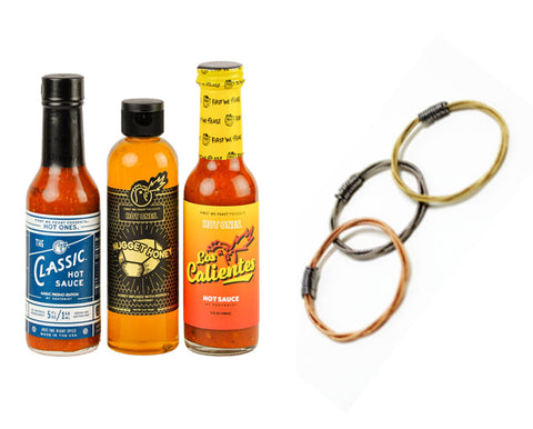 Hot sauce from Heatonist and guitar string rings from Strings of Hope