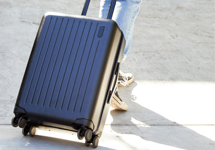 Hard sided suitcase on wheels