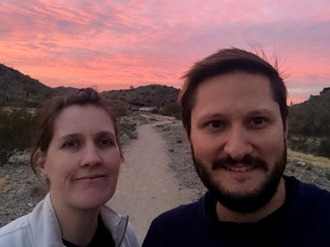 JT & Courtney at the trailhead at sunset