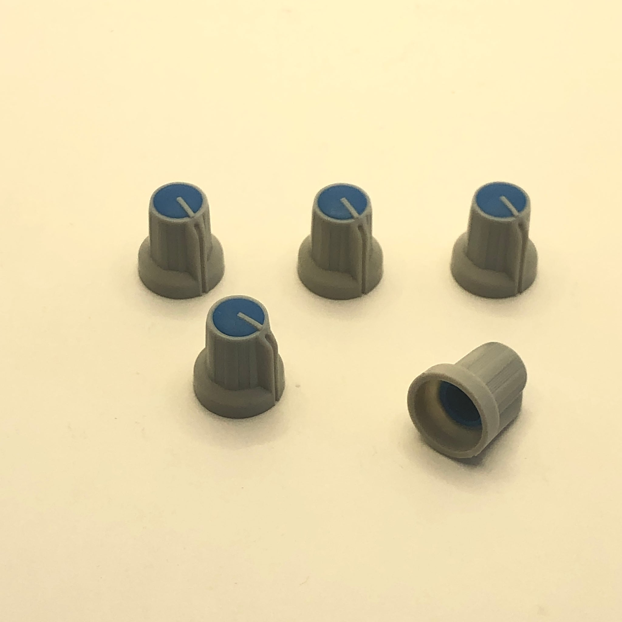 Mixing Board Knobs Light Grey/Royal Blue 6mm Set of 5 (Closeout)