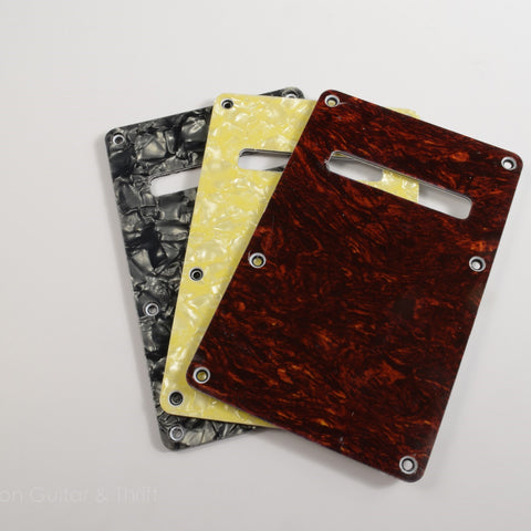 Set of 3 Red Tortoise/Cream Pearloid/Black Pearloid Strat Style Backplates