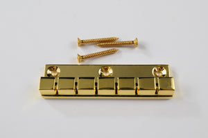 6, 12 String Flat-Mount 3-screw Tailpiece in Chrome and Gold (Blemished) (NOS)