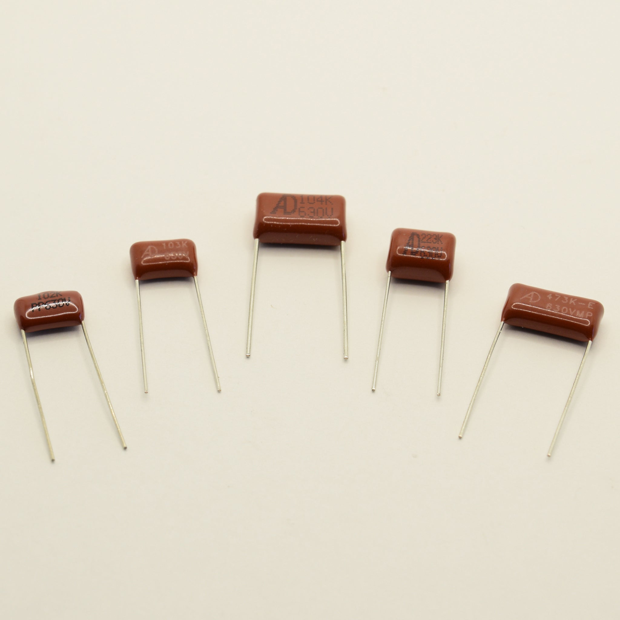 Cinnamon Drop Tone Party Pack Assorted Polypropylene Film Capacitors Set of 5