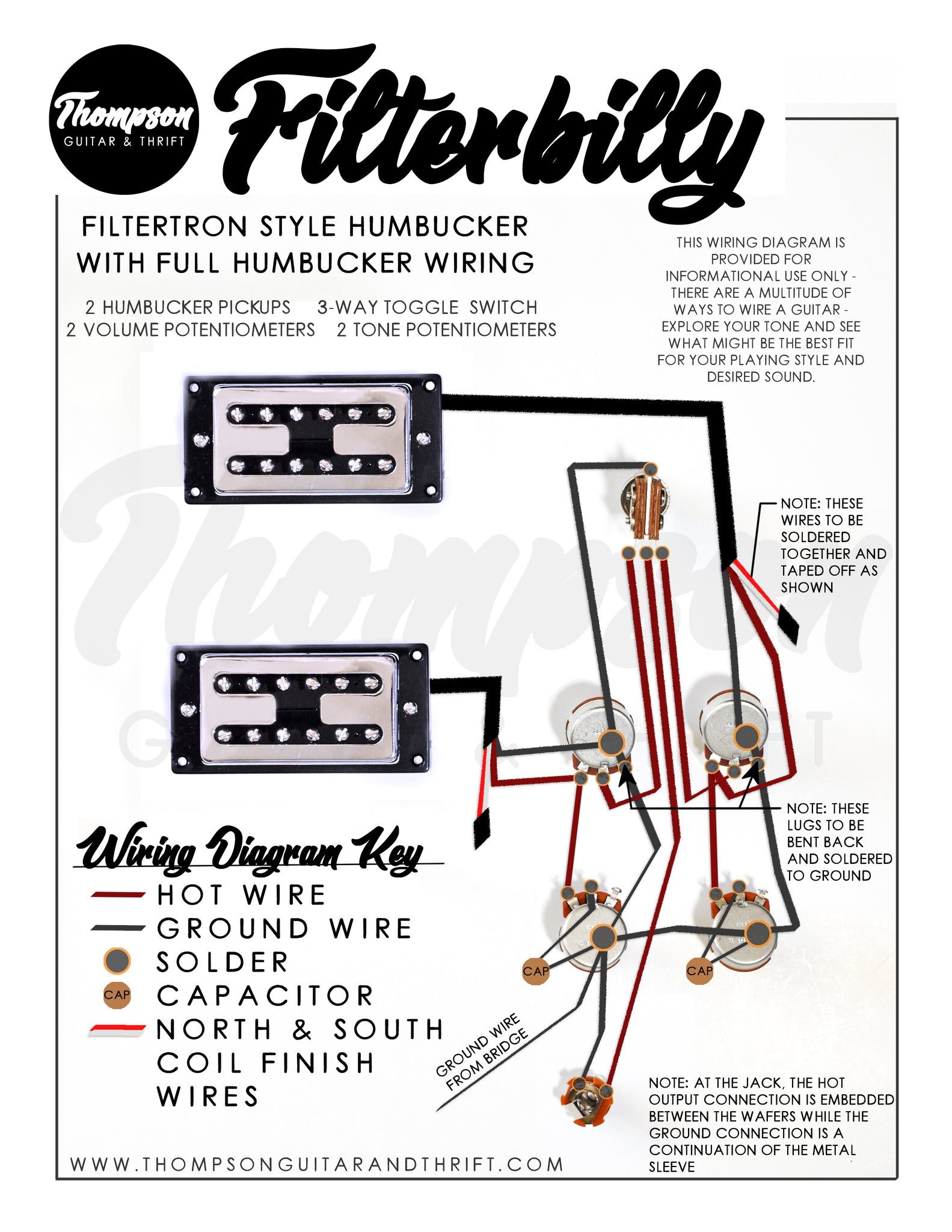 Filterbilly Humbucker Pickup Wiring Diagram | Thompson ...