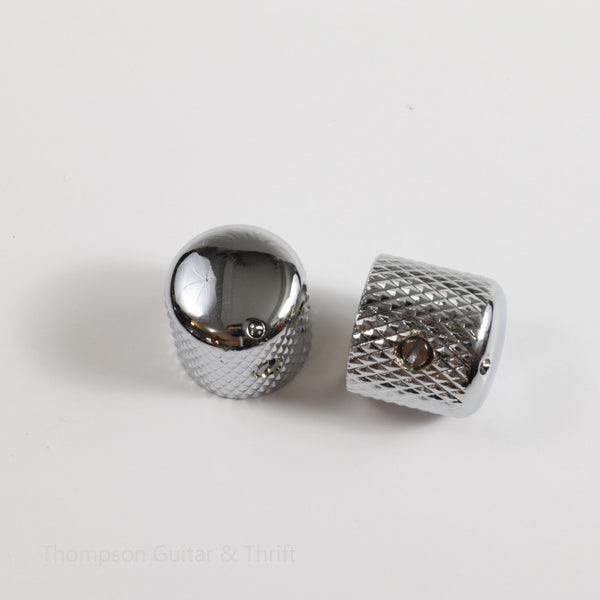 Set of 2 Chrome Knurled Barrel Knobs with Indicator and Set Screw