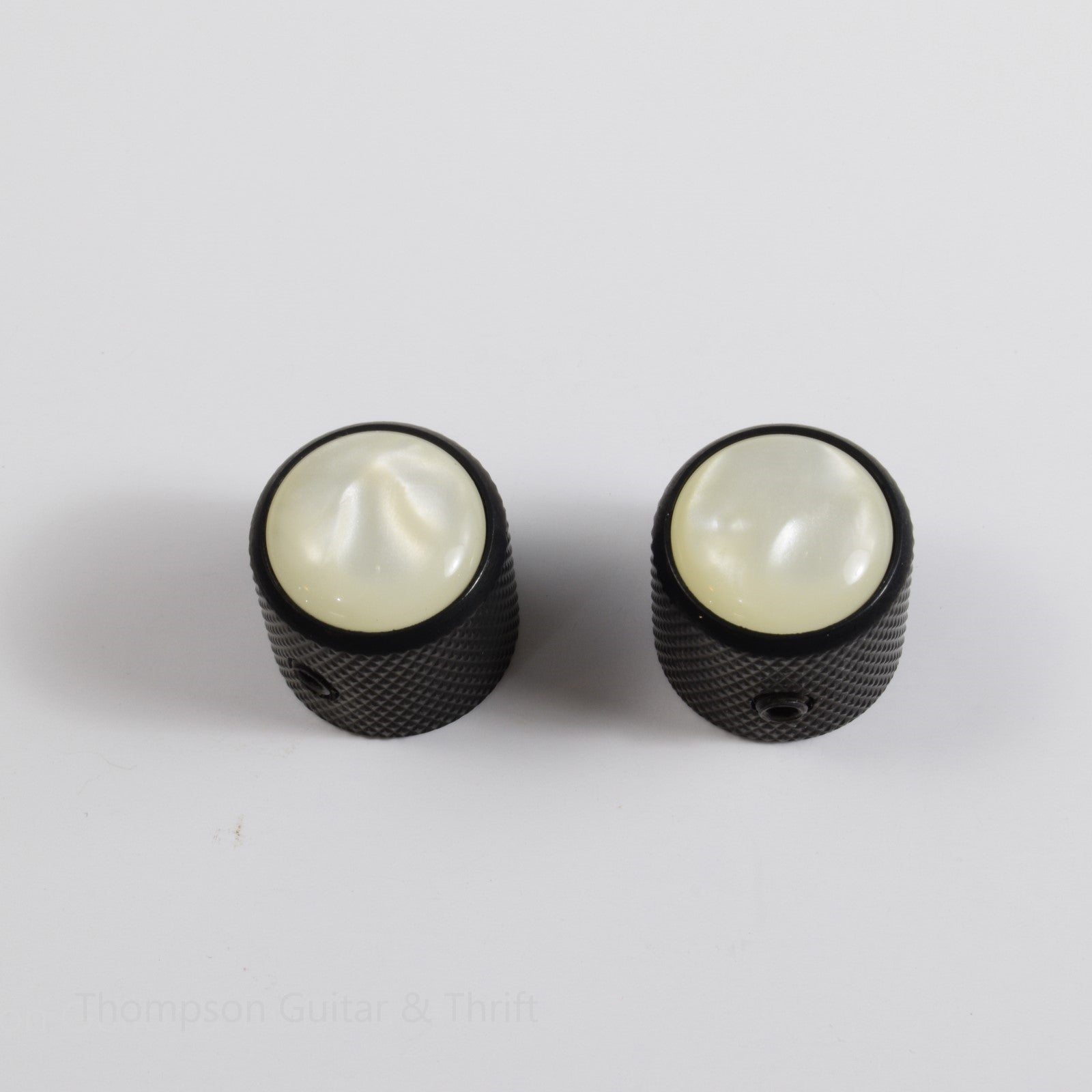 Set of 2 Black Tele Knobs with White Pearl Top