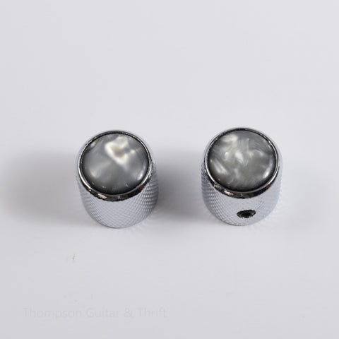 Set of 2 Chrome Tele Knobs with Black Pearl Top