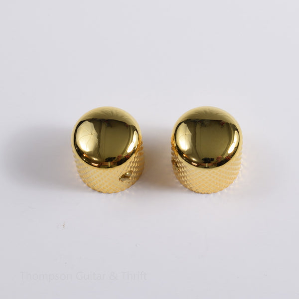 Set of 2 Gold Knurled Barrel Knobs