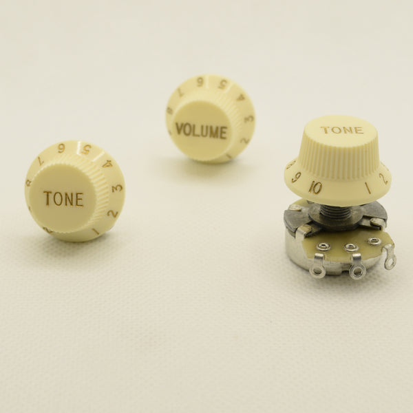 Set of Three Aged Ivory Strat Replacement Knobs