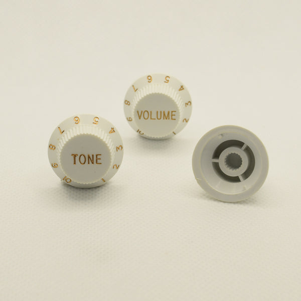 Set of Three White Strat Replacement Knobs