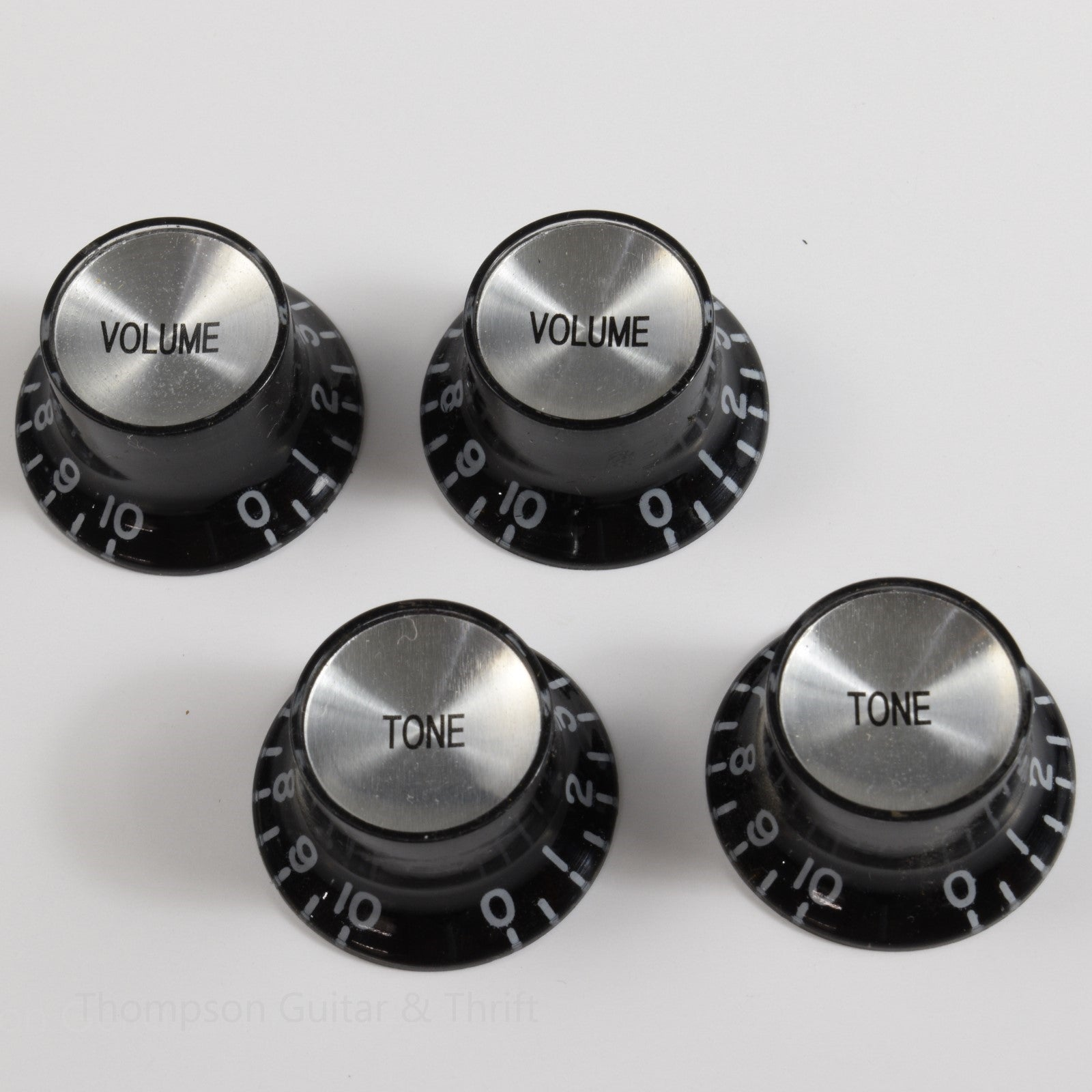 Set of 4 Vintage Style Chrome Top Black Bell Knobs