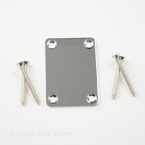 Chrome Neck Plate and Screws for Bass