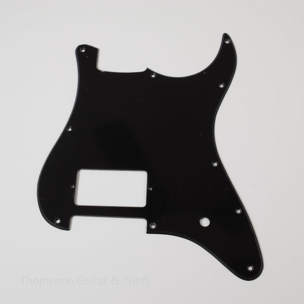 Black Strat Style Pickguard 10-Screw 1-Humbucker 1-Ply