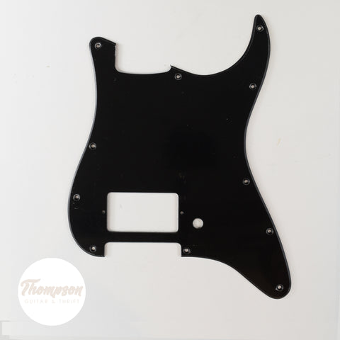 Black Strat Style Pickguard 11-Screw Single Humbucker 1-Knob 1-Ply