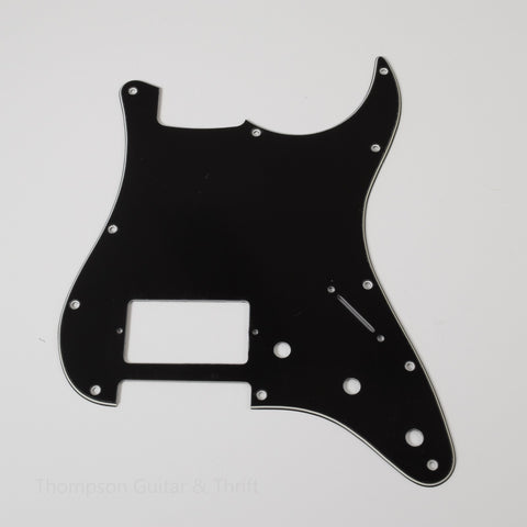 Black Strat Style Pickguard 11-Screw 1-Humbucker 3-Knob 3-Ply