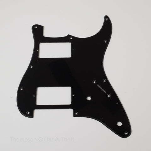 Black Strat Style Pickguard 11-Screw HH 2-Knob 1-Ply