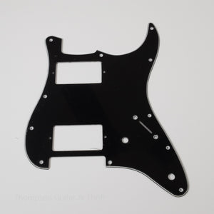Black Strat Style Pickguard 11-Screw HH 2-Knob 3-Ply