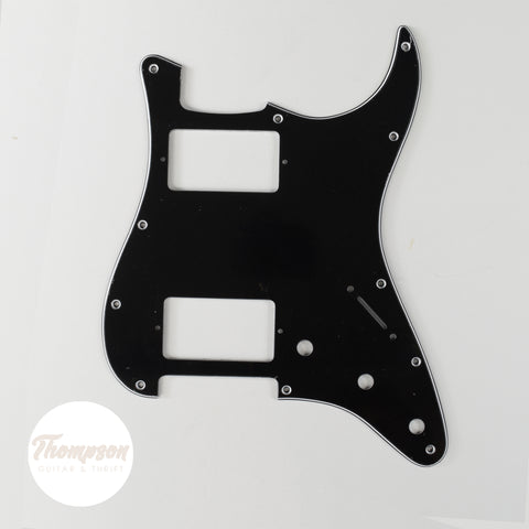 Black Strat Style Pickguard 11-Screw Dual Humbucker 3-Knob 3-Ply