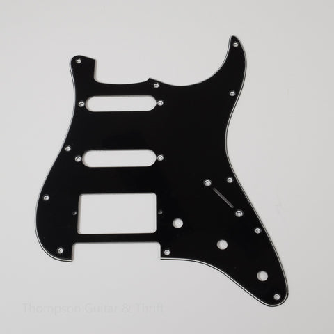 Black Strat Style Pickguard 11-Screw SSH 3-Knob 3-Ply