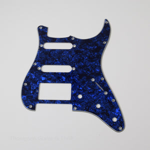 Blue Pearloid Strat Style Pickguard 11-Screw HSS 3-Knob 3-Ply