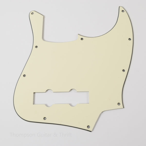 Cookies & Cream! Off-White Jazz Bass Style Pickguard 10-Screw 3-Ply
