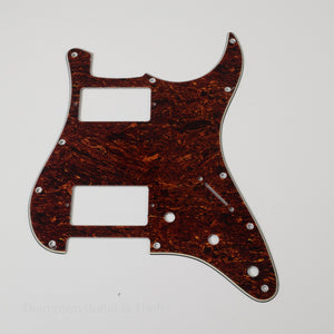 Red Tortoise Shell Strat Style Pickguard 11-Screw HH 3-Knob 3-Ply