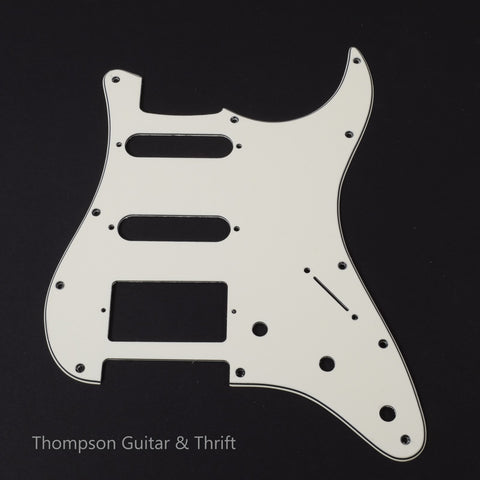 White Strat Style Pickguard 11-Screw 3-Knob 3-Ply